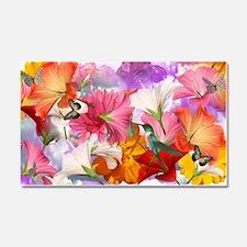 Hibiscus Butterflies Car Magnet 20 x 12