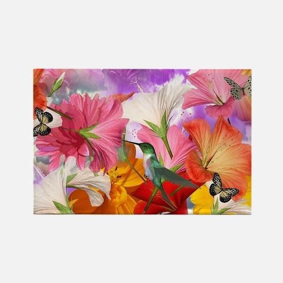 Hibiscus Butterflies Rectangle Magnet