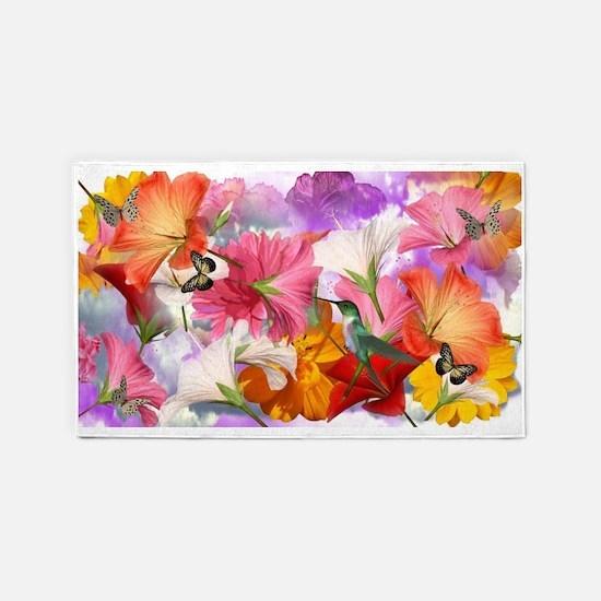 Hibiscus Butterflies Area Rug