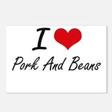 I love Pork And Beans Postcards (Package of 8)