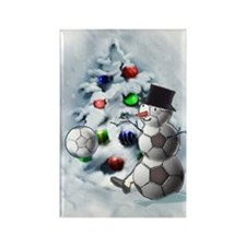Soccer Ball Snowman Christmas Rectangle Magnet