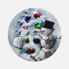 Soccer Ball Snowman Christmas Round Ornament
