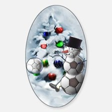 Soccer Ball Snowman Christmas Decal