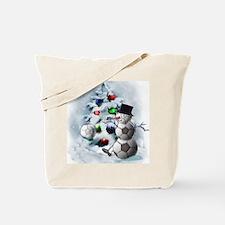 Soccer Ball Snowman Christmas Tote Bag