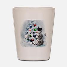 Soccer Ball Snowman Christmas Shot Glass