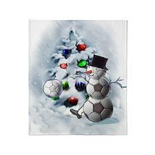 Soccer Ball Snowman Christmas Throw Blanket
