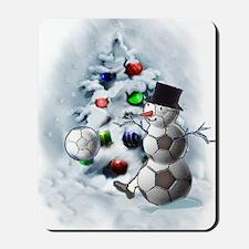 Soccer Ball Snowman Christmas Mousepad