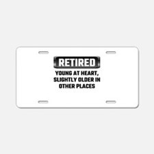 Retired Young At Heart, Sli Aluminum License Plate