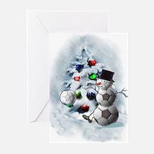 Soccer Ball Snowman Christmas Greeting Cards