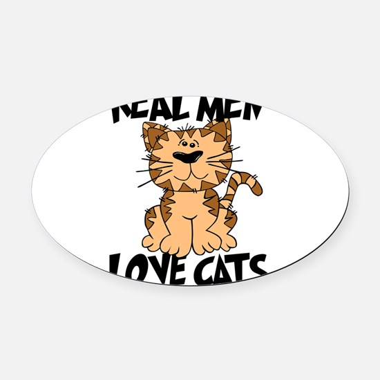 Real Men Love Cats Oval Car Magnet