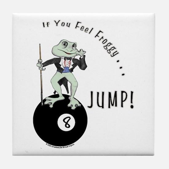 8 Ball Billiard Frog Cartoon Tile Coaster