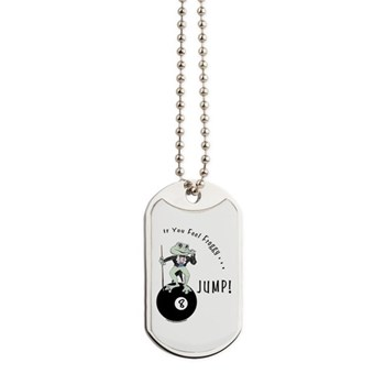 8 Ball Pool Playing Frog Cartoon Dog Tags