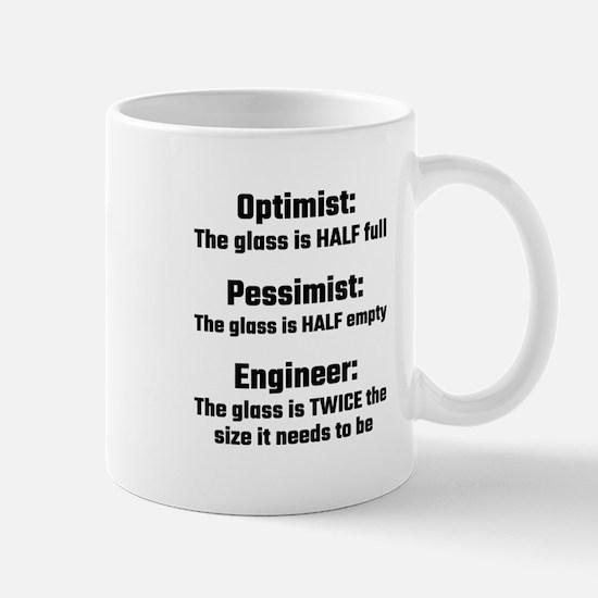 Optimist, Pessimist, Engineer Mugs