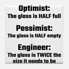 Optimist, Pessimist, Engineer Tile Coaster