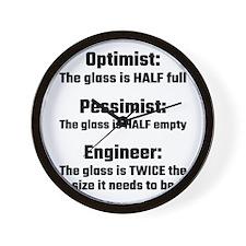 Optimist, Pessimist, Engineer Wall Clock