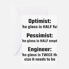 Optimist, Pessimist, Engineer Greeting Cards