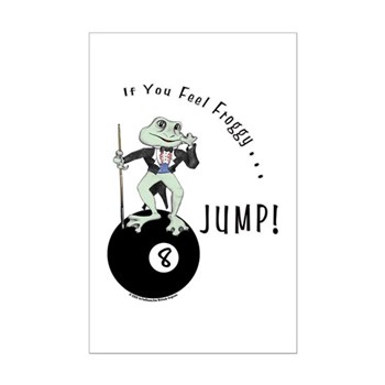 8 Ball Billiard Frog Cartoon Posters