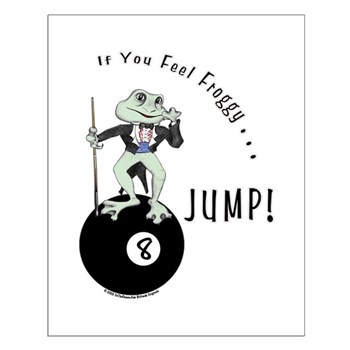 Funny Pool Playing Frog Cartoon Poster by OTC Billiard Designs