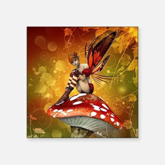 """Autumn Fairy Square Sticker 3"""" x 3"""""""