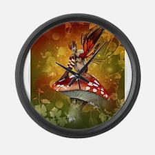 Autumn Fairy Large Wall Clock