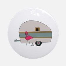 Camper With Flamingo Round Ornament