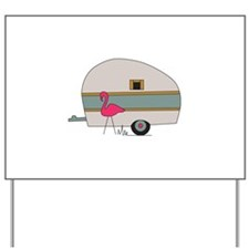 Camper With Flamingo Yard Sign