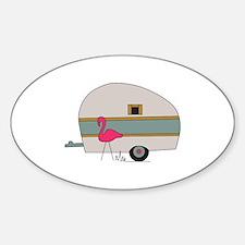 Camper With Flamingo Bumper Stickers