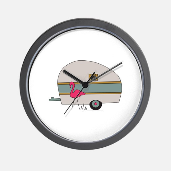 Camper With Flamingo Wall Clock