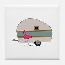 Camper With Flamingo Tile Coaster