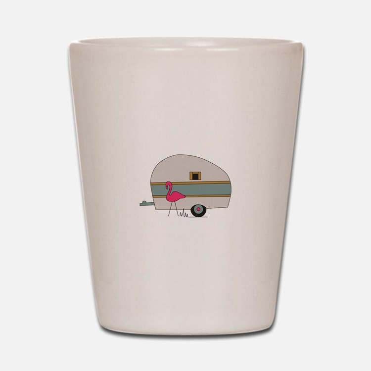 Camper With Flamingo Shot Glass