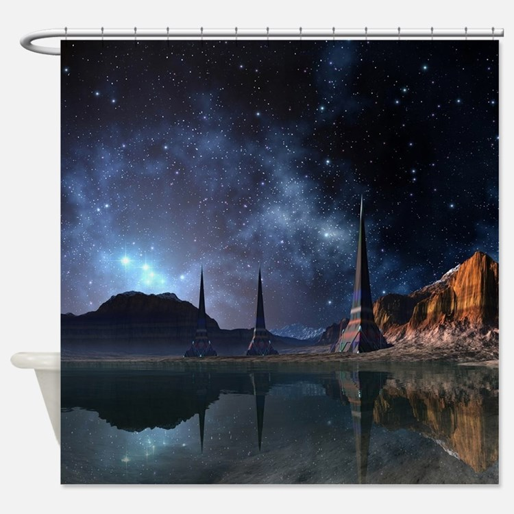 Fantasy science fiction shower curtains fantasy science for Fantasy shower curtains
