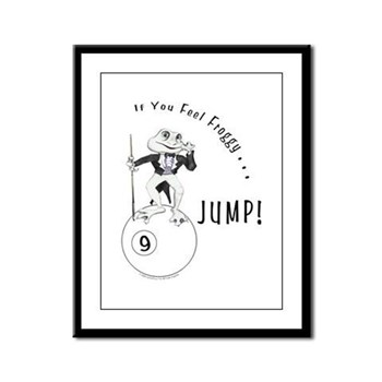 9 Ball Pool Playing Frog Cartoon Framed Print