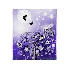 Purple Flowering Tree Throw Blanket