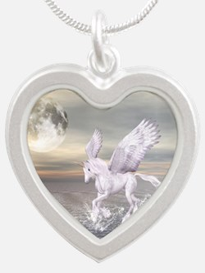Pegasus-Unicorn Hybrid Silver Heart Necklace