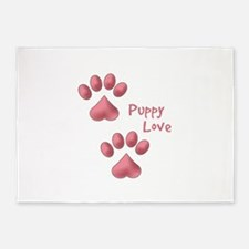 Puppy Paw Saying 5'x7'Area Rug