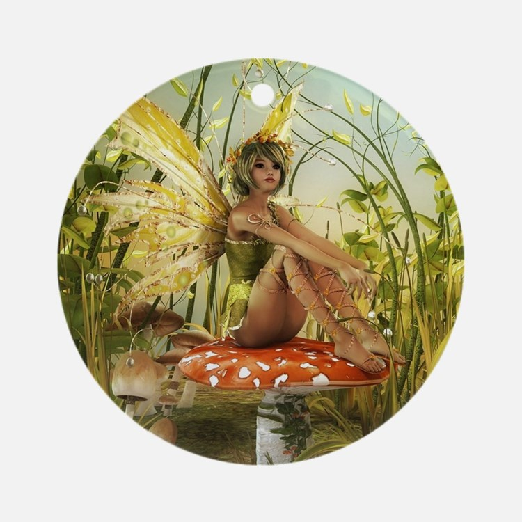 Indian Summer Fairy Round Ornament