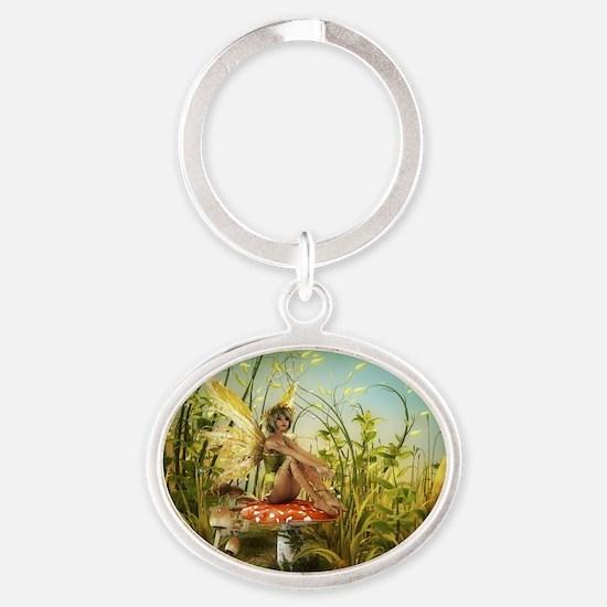 Indian Summer Fairy Oval Keychain