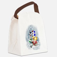 Billiards Ball Snowman xmas Canvas Lunch Bag
