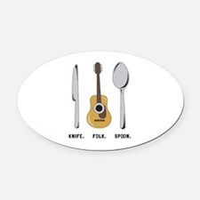 Silverware and Guitar Oval Car Magnet