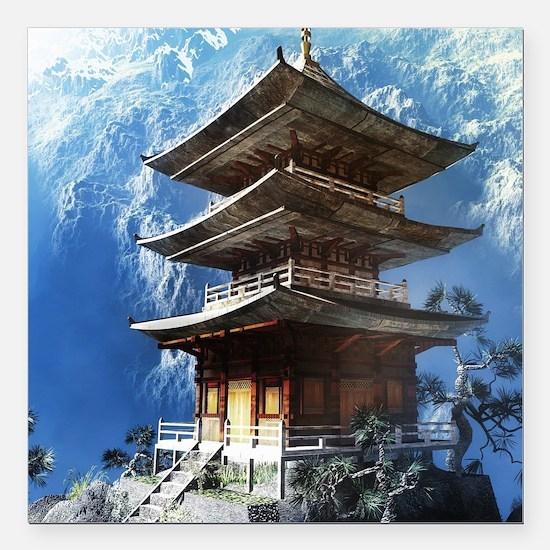 "Buddhist Zen Temple Square Car Magnet 3"" x 3"""