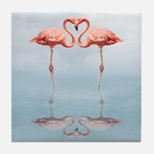 Pink Flamingos in Love Tile Coaster