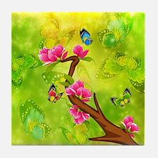 Magnolia Butterflies Tile Coaster