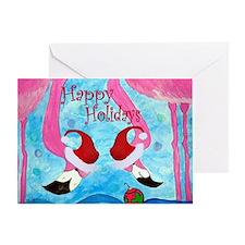Christmas Flamingos Cards Greeting Cards