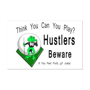 Hustlers Beware Pool Playing Frog Poster