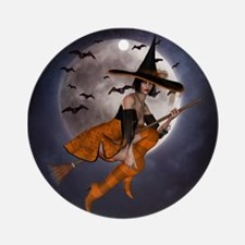 Halloween Witch Round Ornament