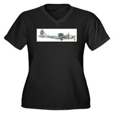 Cute B 29 bomber Women's Plus Size V-Neck Dark T-Shirt