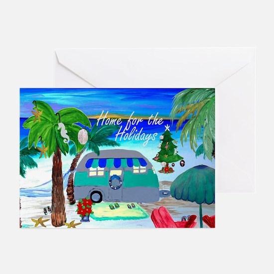 Retro Camper Beach Christmas Cards Greeting Cards