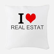 I Love Real Estate Woven Throw Pillow