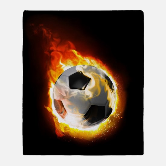 Soccer Fire Ball Throw Blanket