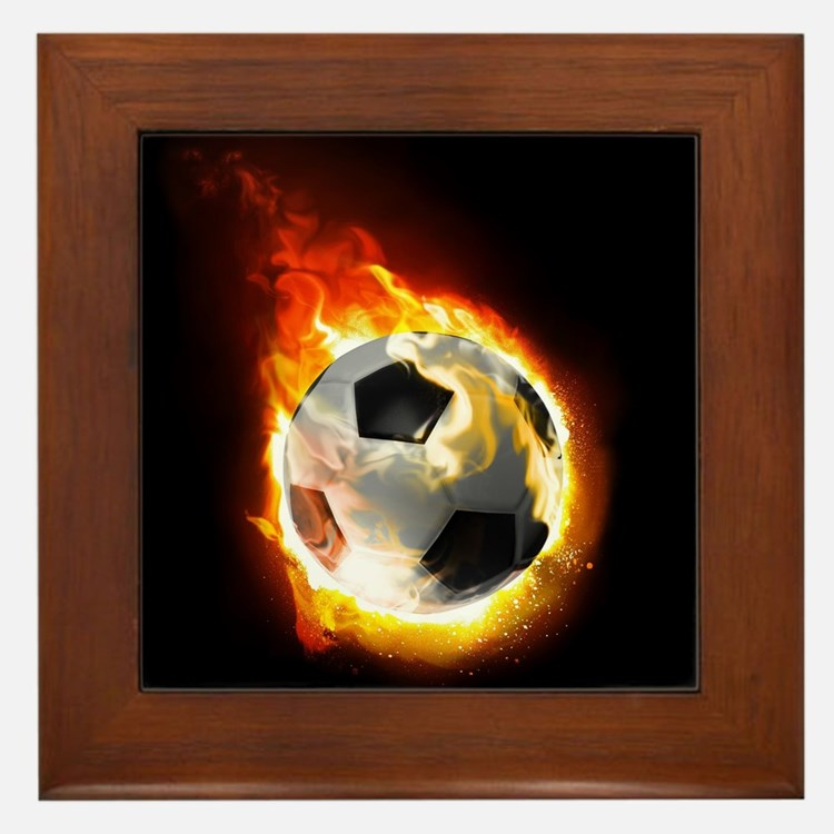 Soccer Fire Ball Framed Tile